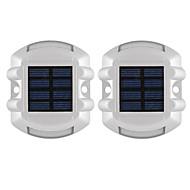 voordelige LED-schijnwerperlampen-2 stks aluminium zonne-energie 6 led outdoor weg oprit dock path grond licht lamp rood