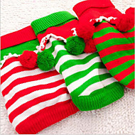 Cat Dog Sweaters Dog Clothes New Casual/Daily Keep Warm Christmas Stripe Green Red White