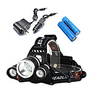 cheap Flashlights, Lanterns & Lights-LS052 Headlamps / Bike Lights LED 3000lm 4 Mode with Batteries and Chargers Impact Resistant / Rechargeable / Waterproof Camping / Hiking
