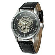 저렴한 -WINNER 남성용 패션 시계 드레스 시계 손목 시계 오토메틱 셀프-윈딩 중공 판화 PU 밴드 빈티지 캐쥬얼 멋진 블랙 브라운