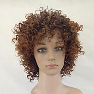 お買い得  -人工毛ウィッグ Kinky Curly 合成 ブラックアメリカン風ウィッグ ブラウン かつら 女性用 ミディアム キャップレス ベージュ