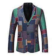 cheap -Men's Party / Daily Sophisticated Fall / Winter Regular Blazer, Plaid / Check Shirt Collar Long Sleeve Cotton Print Blue M / L / XL / Slim