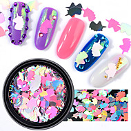 1 Box Pink Unicorn Nail Sequins AB Color Iridescent Flakes Glitter Nail Art Decoration Manicure DIY Tips