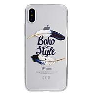 Недорогие Кейсы для iPhone 8 Plus-Кейс для Назначение Apple iPhone X iPhone 8 Ультратонкий Полупрозрачный С узором Кейс на заднюю панель  Перья Мягкий ТПУ для iPhone X
