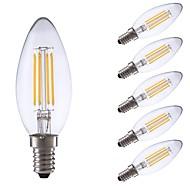 voordelige LED-kooldraadlampen-6pcs 3.5W 350lm E14 LED-gloeilampen C35 4 LEDs COB Dimbaar LED verlichting Decoratief Warm wit 2700K AC 220-240V