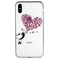 Недорогие Кейсы для iPhone 8 Plus-Кейс для Назначение Apple iPhone X / iPhone 8 / iPhone 8 Plus Полупрозрачный / С узором Кейс на заднюю панель С сердцем / Мультипликация / Сияние и блеск Мягкий ТПУ для iPhone X / iPhone 8 Pluss