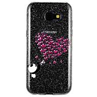 Недорогие Чехлы и кейсы для Galaxy A7(2017)-Кейс для Назначение SSamsung Galaxy A5(2017) A3(2017) Полупрозрачный С узором Рельефный Кейс на заднюю панель С сердцем Сияние и блеск