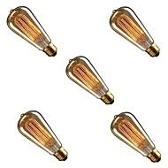 olcso -5pcs 40 W E26/E27 ST58 Meleg sárga 2200-3000 K Tompítható Izzólámpa Vintage Edison izzó AC 220-240V V