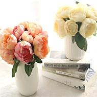 abordables Flores Artificiales-Flores Artificiales 6 Rama Modern Peonías Flor de Mesa
