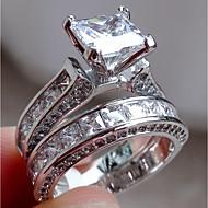 baratos Anéis-Mulheres Zircônia Cubica Anel de noivado - Aço Inoxidável Fashion, Elegante 6 / 7 / 8 Prata Para Noivado / Presente