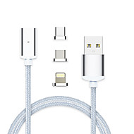voordelige iPhone-kabels & adapters-Verlichting USB 3.1 Type-C USB kabeladapter High-Speed Snelle kosten Alles-In-1 Gevlochten Magnetisch Kabel Voor Macbook iPad Samsung