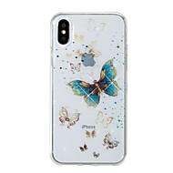 Кейс для Назначение Apple iPhone X iPhone 8 IMD С узором Задняя крышка Бабочка Сияние и блеск Мягкий TPU для iPhone X iPhone 8 Pluss