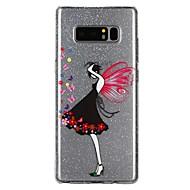 Недорогие Чехлы и кейсы для Galaxy Note 8-Кейс для Назначение SSamsung Galaxy Note 8 Полупрозрачный С узором Рельефный лакировка Кейс на заднюю панель Сияние и блеск  Перья