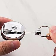 abordables Corte y medición-1 unids retráctil tarjeta de metal titular de la tarjeta de retención de acero anillo de retroceso cinturón clip tire cadena