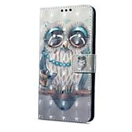 お買い得  携帯電話ケース-ケース 用途 OPPO R11 A57 カードホルダー ウォレット スタンド付き フリップ 磁石バックル パターン フルボディーケース フクロウ ハード PUレザー のために Oppo R11 OPPO R9s OPPO A59 OPPO A57