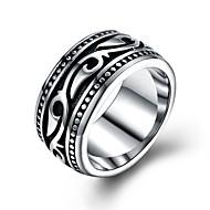 Herr Statement Ring Rostfritt stål Statement Moderingar Smycken Silver Till Party Nyår 8 / 9 / 10 / 11 / 12