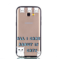 Недорогие Чехлы и кейсы для Galaxy A5(2017)-Кейс для Назначение SSamsung Galaxy A8 2018 A8 Plus 2018 Прозрачный С узором Рельефный Кейс на заднюю панель Кот Слова / выражения Твердый