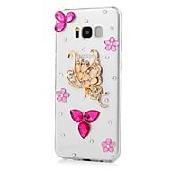 Недорогие Чехлы и кейсы для Galaxy S7-Кейс для Назначение SSamsung Galaxy S8 Plus S8 Стразы С узором Кейс на заднюю панель Бабочка Животное Твердый Акрил для S8 Plus S8 S7