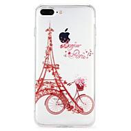 Недорогие Кейсы для iPhone 8 Plus-Кейс для Назначение Apple iPhone 6 iPhone 7 Стразы Рельефный Кейс на заднюю панель Эйфелева башня Мультипликация Мягкий ТПУ для iPhone 8
