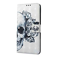 Недорогие Чехлы и кейсы для Galaxy S9-Кейс для Назначение SSamsung Galaxy S9 S9 Plus Бумажник для карт Кошелек со стендом Флип Магнитный Чехол Черепа Твердый Кожа PU для S9