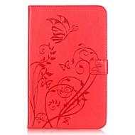 Недорогие Чехлы и кейсы для Samsung Tab-Кейс для Назначение Samsung Tab E 9.6 Бумажник для карт Кошелек со стендом Рельефный Авто Режим сна / Пробуждение Чехол Цветы Твердый