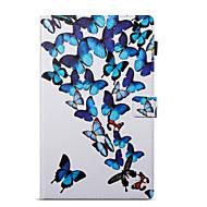 preiswerte Tablet Zubehör-Hülle Für Amazon Kreditkartenfächer Geldbeutel mit Halterung Muster Automatisches Schlafen/Aufwachen Ganzkörper-Gehäuse Schmetterling Hart