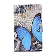 Недорогие Чехлы и кейсы для Samsung Tab-Кейс для Назначение SSamsung Galaxy Tab E 8.0 Бумажник для карт со стендом Флип С узором Авто Режим сна / Пробуждение Чехол Бабочка