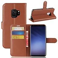 Недорогие Чехлы и кейсы для Galaxy S6 Edge Plus-Кейс для Назначение SSamsung Galaxy S9 S9 Plus Бумажник для карт Кошелек Флип Чехол Сплошной цвет Твердый Кожа PU для S9 Plus S9 S8 Plus
