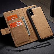 Недорогие Кейсы для iPhone 8 Plus-Кейс для Назначение Apple iPhone X iPhone 8 Бумажник для карт Кошелек со стендом Флип Своими руками Чехол Сплошной цвет Твердый Кожа PU