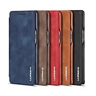 Недорогие Чехлы и кейсы для Galaxy Note-Кейс для Назначение SSamsung Galaxy Note 8 Бумажник для карт Защита от удара Флип Чехол Однотонный Твердый Настоящая кожа для Note 8