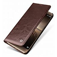 お買い得  携帯電話ケース-ケース 用途 Huawei Mate 9 Pro Mate 10 pro カードホルダー 耐衝撃 フルボディーケース 純色 ハード 本革 のために Mate 9 Pro