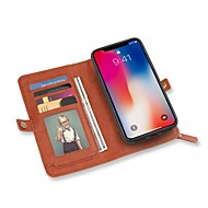 Недорогие Кейсы для iPhone 8-Кейс для Назначение Apple iPhone X iPhone 8 Бумажник для карт Кошелек со стендом Флип Чехол Сплошной цвет Твердый Кожа PU для iPhone X