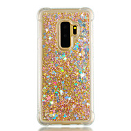 Недорогие Чехлы и кейсы для Galaxy S8 Plus-Кейс для Назначение SSamsung Galaxy S9 S9 Plus Защита от удара Движущаяся жидкость Сияние и блеск Кейс на заднюю панель С сердцем Сияние