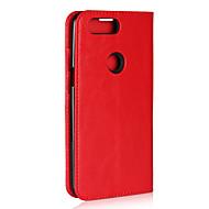 お買い得  携帯電話ケース-ケース 用途 OnePlus OnePlus 5T カードホルダー スタンド付き フリップ フルボディーケース 純色 ハード 本革 のために OnePlus 5T