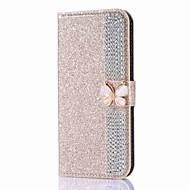 billige Galaxy J3(2016) Etuier-Etui Til Samsung Galaxy J7 (2017) J5 (2017) Kortholder Pung Rhinsten Med stativ Flip Magnetisk Fuldt etui Sommerfugl Glitterskin Hårdt PU