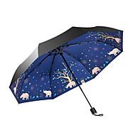abordables Accesorios para la Lluvia-Tejido Mujer / Todo Soleado y lluvioso / A prueba de Viento Paraguas de Doblar