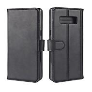 Недорогие Чехлы и кейсы для Galaxy Note-Кейс для Назначение SSamsung Galaxy Note 8 Бумажник для карт Кошелек со стендом Флип Магнитный Чехол Однотонный Твердый Настоящая кожа для