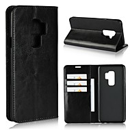 Недорогие Чехлы и кейсы для Galaxy S6 Edge Plus-Кейс для Назначение SSamsung Galaxy S9 S9 Plus Бумажник для карт Кошелек Защита от удара со стендом Флип Чехол Сплошной цвет Твердый