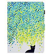 Недорогие Чехлы и кейсы для Samsung Tab-Кейс для Назначение SSamsung Galaxy Tab S2 9.7 Бумажник для карт / со стендом / Флип Чехол Кот Твердый Кожа PU для Tab S2 9.7