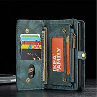 halpa Galaxy S7 kotelot / kuoret-Etui Käyttötarkoitus Samsung Galaxy S9 Plus S8 Korttikotelo Lomapkko Iskunkestävä Tuella Flip Suojakuori Yhtenäinen väri Kova aitoa nahkaa