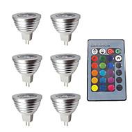 お買い得  LED スポットライト-6本 3W 280lm MR16 LEDスポットライト 1 LEDビーズ 調光可能 装飾用 リモコン操作 RGB 12V