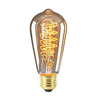 abordables Bombillas Incandescentes-1pc 40W E26/E27 ST64 Blanco Cálido 2200-2700 K Retro Regulable Decorativa Bombilla incandescente Vintage Edison 220-240V