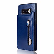 Недорогие Чехлы и кейсы для Galaxy Note 8-Кейс для Назначение SSamsung Galaxy Note 8 Бумажник для карт со стендом Кейс на заднюю панель Сплошной цвет Твердый Кожа PU для Note 8