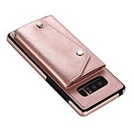 Недорогие Чехлы и кейсы для Galaxy Note-Кейс для Назначение SSamsung Galaxy Note 8 Бумажник для карт Кошелек Флип Магнитный Кейс на заднюю панель Однотонный Твердый Настоящая