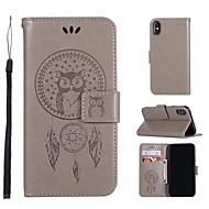 Недорогие Кейсы для iPhone 8 Plus-Кейс для Назначение Apple iPhone X / iPhone 8 Кошелек / Бумажник для карт / Флип Чехол Сова / Ловец снов Твердый Кожа PU для iPhone X / iPhone 8 Pluss / iPhone 8