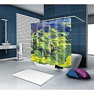 お買い得  浴室用小物-シャワーカーテン&フック クラシック 田園風 ポリエステル ソリッド ノベルティ柄 機械製 防水 浴室