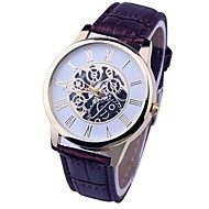 cheap Couple Watches-Men's Couple's Quartz Dress Watch Casual Watch Chinese Chronograph Casual Watch Leather Band Luxury Vintage Black White Brown