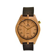 Men's Wood Watch Japanese Quartz Wooden Genuine Leather Band Analog Vintage Brown - Black Brown Two Years Battery Life