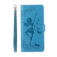 Недорогие Чехлы и кейсы для Galaxy Note-Кейс для Назначение SSamsung Galaxy Note 8 Бумажник для карт со стендом Флип Рельефный Чехол Соблазнительная девушка Твердый Кожа PU для