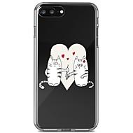 Недорогие Кейсы для iPhone 8 Plus-Кейс для Назначение Apple iPhone 8 Plus iPhone 7 Plus Защита от удара Прозрачный С узором Кейс на заднюю панель Кот Мягкий ТПУ для iPhone